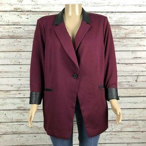 NEW Susan Graver Ponte Knit Faux Leather Blazer